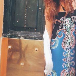 Border Print Maxi Dress with Beaded Halter Top
